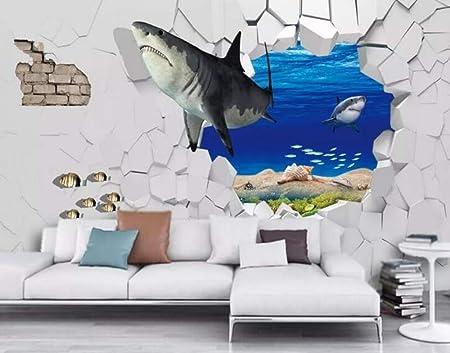 Papier Peint 3d Fond D Ecran 3d Mode Mer Requin Monde Sous Marin 3d Tv Villa Bar Fond Mur 3d Papier Peint Murale 200cmx140cm Amazon Fr Bricolage