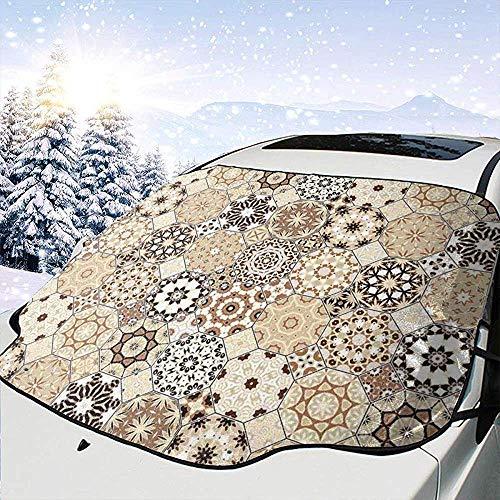 C-WANG Auto-Frontscheiben-Windschutzscheiben-Schneedecke, Achteck und Quadrat-Verzierungen Retro farbige altmodische Fliese