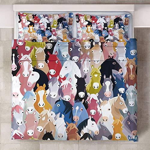 RGBVVM Copripiumino 140 x 200 cm Colore Animale Cavallo - Microfibra Bedding Set Copripiumino con Cerniera e 2 Federe 50x75 cm