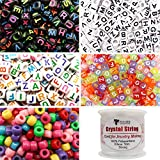 TOAOB 1200pcs Beads Kit Acrylic Letter Beads Cube Alphabet Beads Multi Color Large Hole Beads with Elastic String Cords for Name Bracelets Necklaces Crafts Jewelry Making