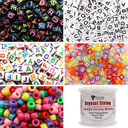 TOAOB 1200 Stück 6x6mm Buchstabenperlen und 6x9mm Pony Perlen Mehrfarbig mit 50 Meter Kristalllinie für Schmuckherstellung