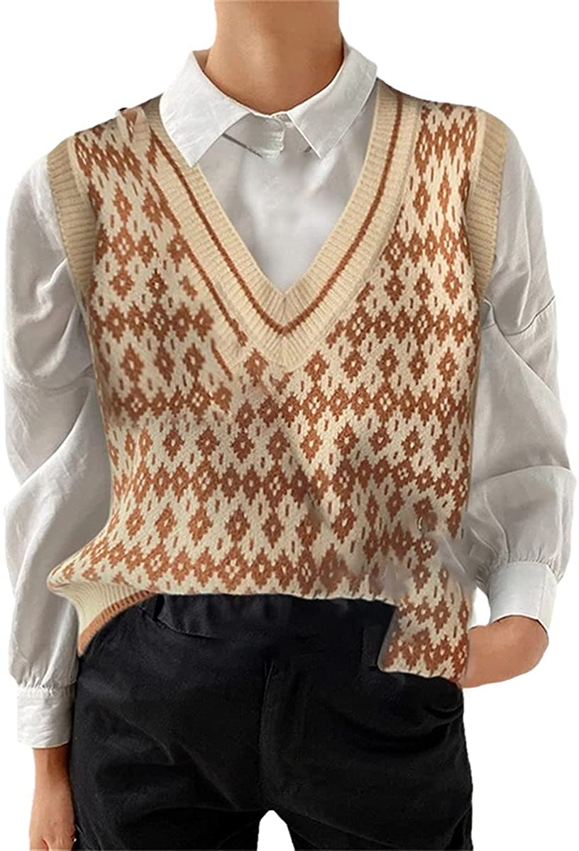 Ladies Vest Sweater Fashion Knitted Loose Sweater Retro Ladies Vest Chic Oversized Sweater