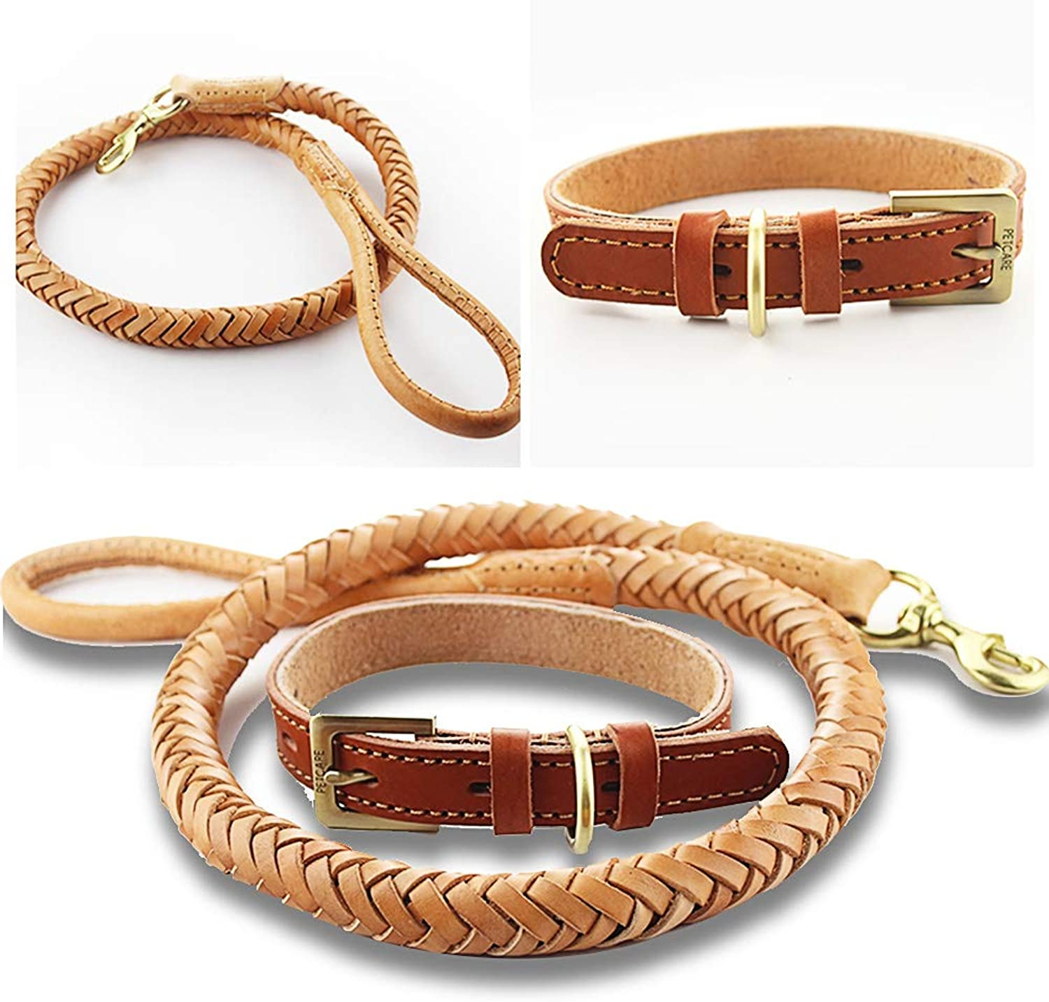 HAOHAO Dog Lead and Collar Set, Handmade Braided Brown Leather Pet Leash for Large Dogs Medium Dogs, 3.6 ft Long 1.1 Inch Wide Durable Thick Genuine Leather Tough Dog Leads