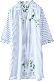 Shirt Pajamas, Women's Summer Cotton Thin Thin-Sleeved Short-Sleeved, Loose Ladies' Home wear, Lapel Pullover Pajamas, Soft and Comfortable, (Color : Blue, Size : XL)