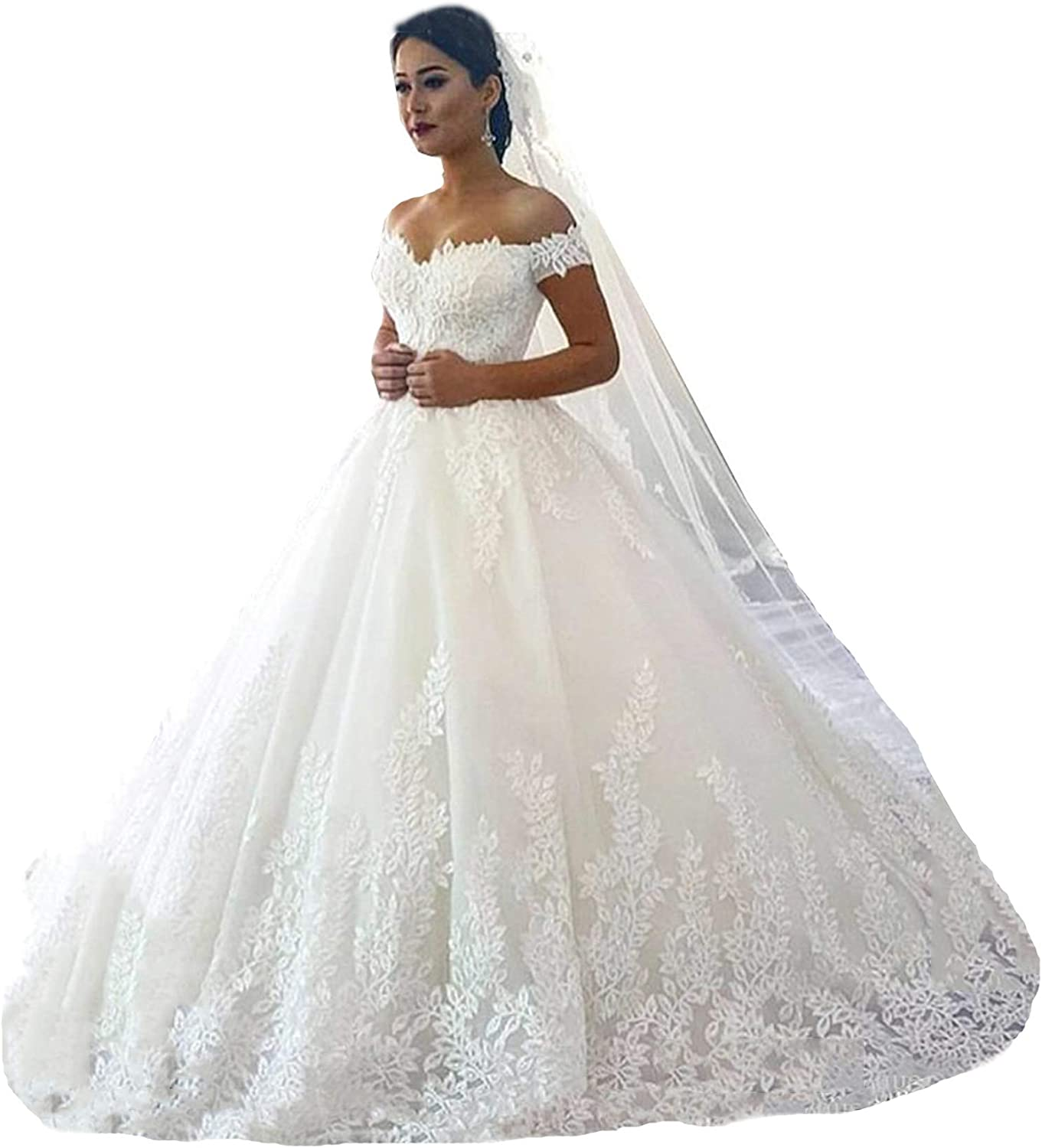 Fanciest Women's Lace Wedding Dresses for Bride 20 Ball Gowns White