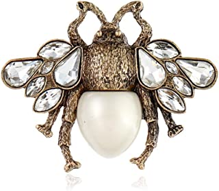 AILUOR Fashion Enamel Bumblebee Bee Brooches, Vintage Alloy Pearl Crystal Rhinestone Natural Insect Bee Animal Lapel Pins Jewelry for Women Girl