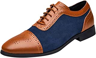 Chenway Men's Dress Shoes-Brogue Carved Black Brown Cow Leather Oxfords Business Casual Shoes - Lace Low Heels Driving Shoes