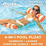 AQUA 4-in-1 Monterey Hammock Inflatable Pool Float, Multi-Purpose Pool Hammock (Saddle, Lounge Chair, Hammock, Drifter) Pool Chair, Portable Water Hammock, Orange/White Stripe