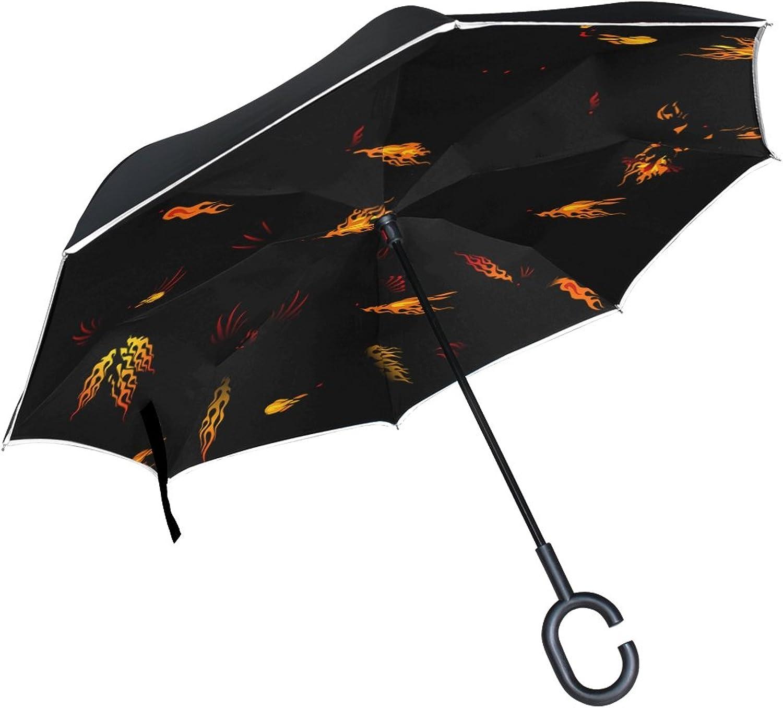 Double Layer Ingreened Dragon Phoenix Fire Bird Ancient Mystical Fantasy Umbrellas Reverse Folding Umbrella Windproof Uv Predection Big Straight Umbrella for Car Rain Outdoor with CShaped Handle