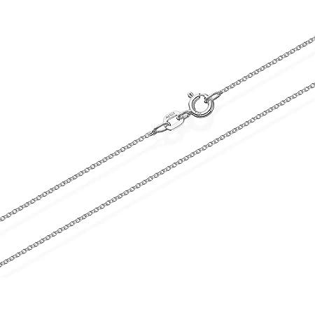 NKlaus - Cadena de eslabones de plata de ley 925, redonda, maciza, 1,10 mm de ancho