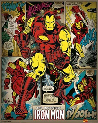 Pyramid International Iron Man Retro Marvel Comics Mini-Poster, Kunststoff/Glas, mehrfarbig, 40 x 50 x 1,3 cm