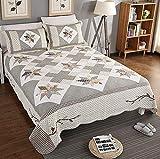 Tagesdecke Gesteppt Baumwolle, Steppdecke Bedruckt Doppelbett Gesteppte Tagesdecken Set Patchwork Bettiberwurf Und 2 Kissenbezüge,Patchwork25