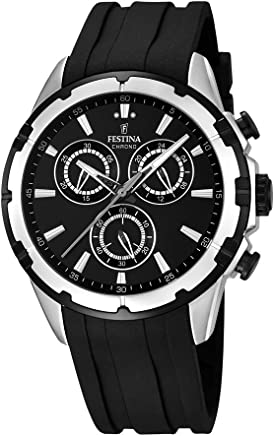 Festina F16838/2 Mens Watch Silver-Tone Chronograph Sport Black Rubber Strap