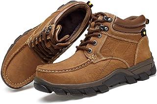 Bottes randonnée pour hommes,Doublure en peluche de chaussures de neige à lacets Bottines cheville de travail de la ville ...