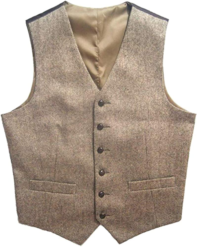 Airtailors Tweed Vintage Rustic Wedding Vest Brown with Leather Effect Buttons Winter Slim Fit Groom's Wear