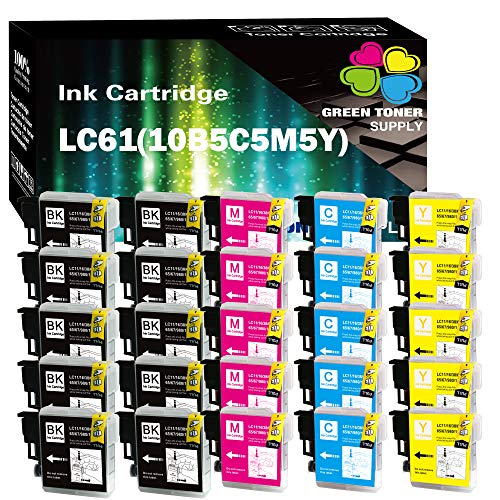 (25 Pack) GTS Compatible LC61 Inkjet Cartridge Replacement for Brother All-in-One DCP-165C DCP-385C DCP-585CW MFC-290C MFC-490CW MFC-5490CN MFC-5890CN MFC-6490CW MFC-790CW Printers (10B5C5Y5M)
