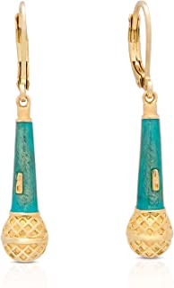 Jewelry for Girls - Microphone Dangle Earrings - Gold Plated with Turquoise Enamel - By Lily Nily
