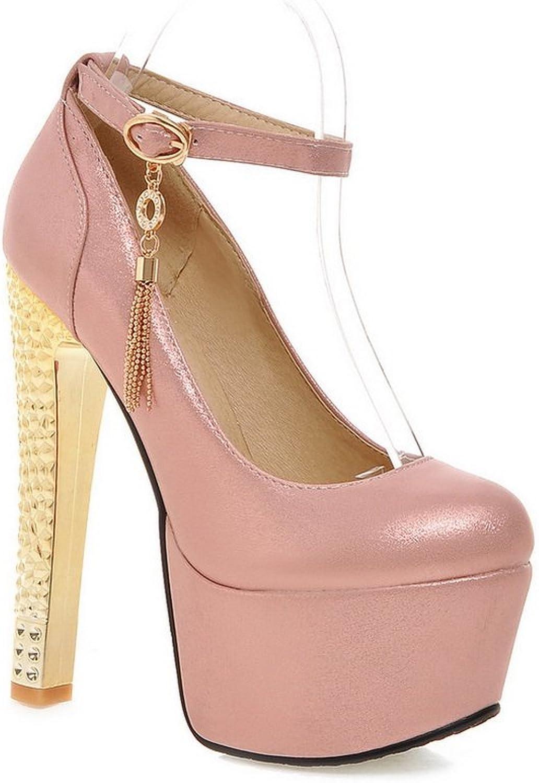 AdeeSu Womens Ankle-Cuff Metalornament Polyurethane Pumps shoes