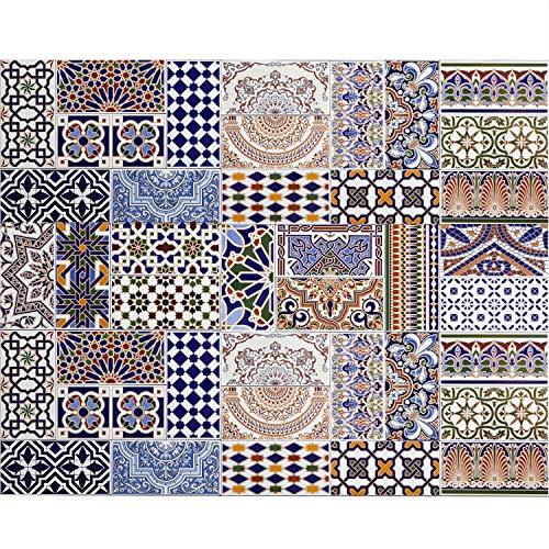 Casa Moro Marokkanische Patchwork Fliesen Bunt Mix 28 x 14 cm 0,98 m² als Wandfliesen | Orientalische Fliese für schöne Küche Flur Bad & Küchenrückwand | FL5000