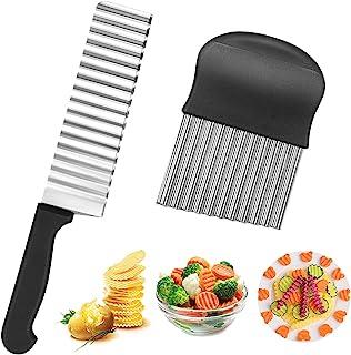 Bluelves Couteau de Tranches de Pomme de Terre, 2 Pièces Coupe Frites Ondulé avec Lame en Acier Inoxydable,Couteau Lame On...