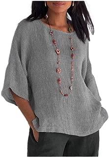 Howely Women T Shirts Autumn Linen Cotton Round Neck 3/4 Sleeve Blouse Top