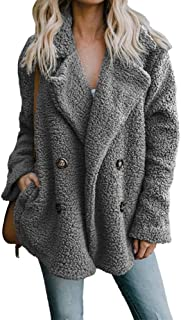 ZEVONDA Womens Fleece Coat - Oversize Solid Color Open Front Collar Coat Fleece Cardigan Jacket Autumn Winter Casual Warm Ladies Outerwear