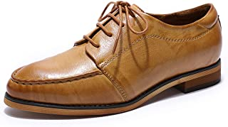 MIKCON Womens Oxfords Shoes Leather Perforated Wingtip Lace up Flats Saddle Brogue Shoes for Womens Girls