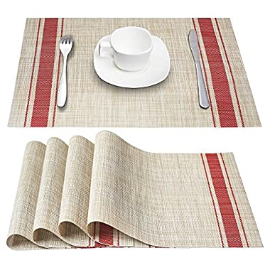 Placemats, DACHUI Heat-resistant Placemats Stain Resistant Anti-skid Washable PVC Table Mats Woven Vinyl Placemats, Set of 4 (Red)