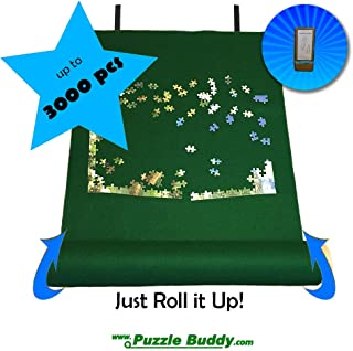 "Puzzle Buddy:Roll Up Felt Mat | Securely Store, Transport Unfinished Puzzles, (Includes Box Stand), Perfect for Grandparents, Grandkids and Puzzle Enthusiasts | Made In the USA - Storage Kit For Puzzles Up To 3000 Pieces, 54"" x 35"""