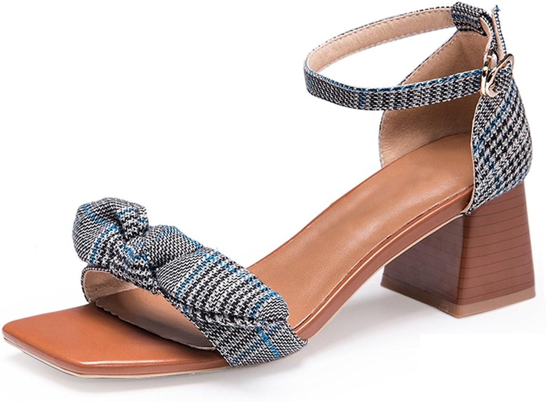 JIANXIN Frauen Frühling und Sommer Retro Sandalen High Heels mit einem Wort Gurt Fairy Schuhe. (Farbe   Blau, größe   35)  | New Products