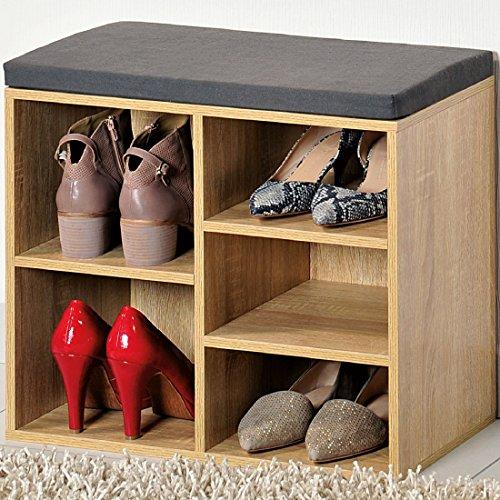 Kesper Schuhschrank mit Sitzkissen, Sonoma Eiche, 51.5 x 29.5 x 48.0 cm