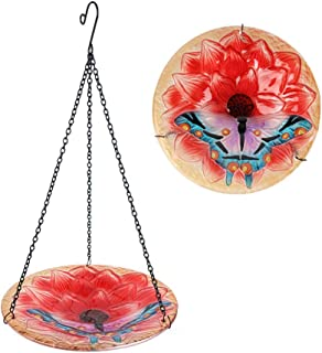 HONGLAND Birdbath Feeder Hanging Glass Bowl Butterfly&Flower for Garden,Yard,Patio,10 inches Diameter,Total Height 17 inches Including Chain