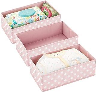 mDesign Soft Fabric Polka Dot Dresser Drawer and Closet Storage Organizer for Child/Kids Room, Nursery, Playroom - Divided...