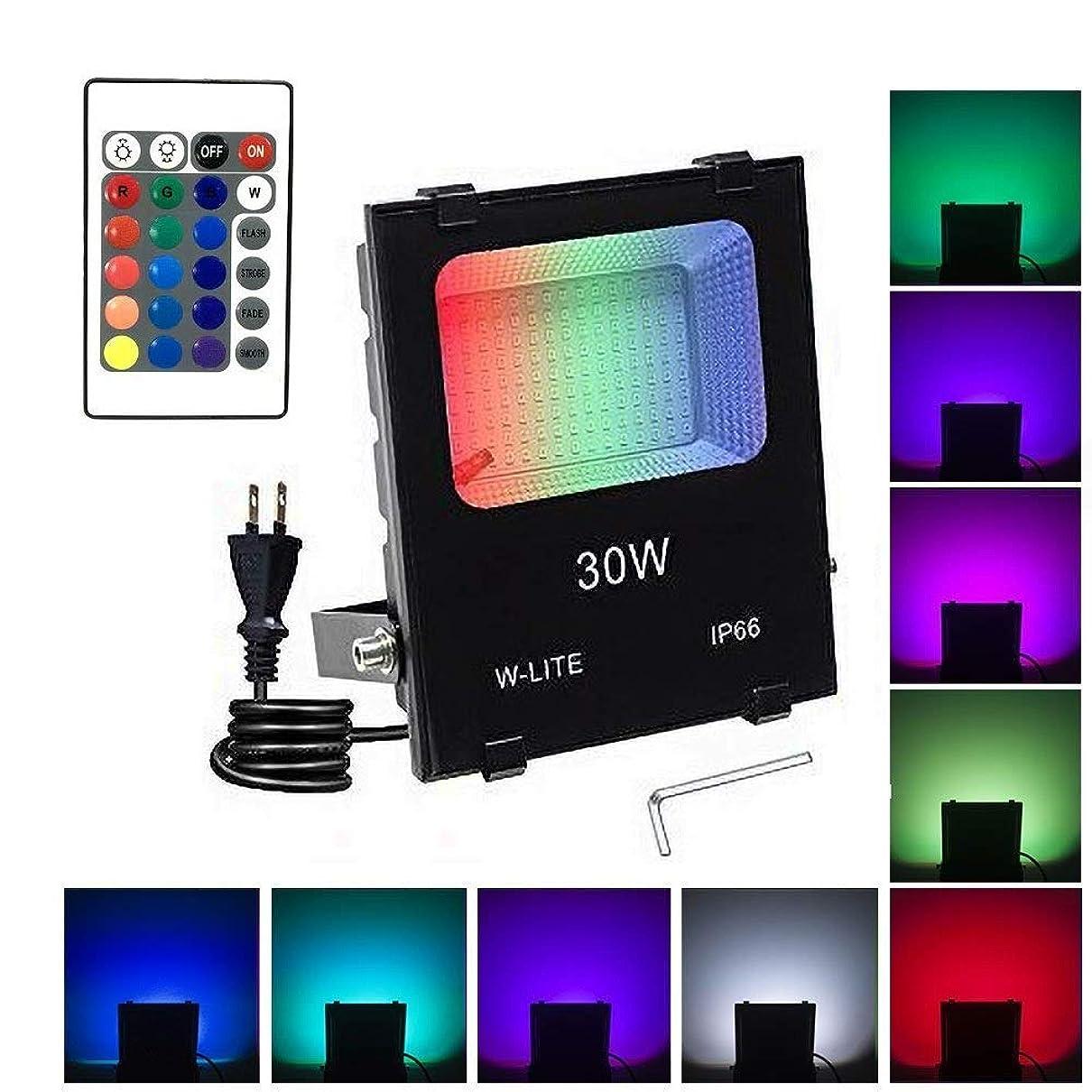 朝の体操をする出血説明的RGB投光器 16色切り替え可能 LEDフラッドライト リモコン付き ACプラグ付属(1m) 30W [並行輸入品]