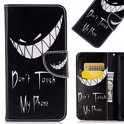 LEMORRY para LG G6 Funda Estuches Cuero Flip Billetera Bolsa Piel Slim Protector Magnética Cierre TPU Silicona Carcasa Tapa para LG G6 / H870, Smile