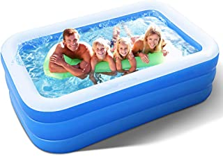 Inflatable Pool for Adults, Kids, Family Kiddie Swimming Pool - Blow Up Rectangular Large Above Ground Pool Floats for Lou...