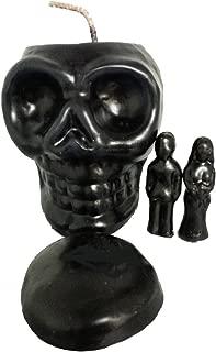 """5"""" Black Destroyer Skull Candle KIT with Male & Female Figures - Banish Hexes, Curses, & Obstacles. Also for Protection. Vela De Calavera Negro Destructor Para Echar Fuera Maldiciones, Hechizos Y Obstáculos, Con Hombre, Mujer Y Tapa"""