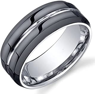 King Will Classic Mens 8mm Black Mens Tungsten Ring Wedding Band Grooved Center Polished Wedding Band