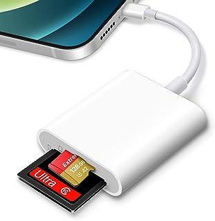 SDカードリーダー, iPhone/iPadに適用、TFカードリーダー 2in1 写真/ビデオ高速転送 メモリカードリーダー 双方向データ転送