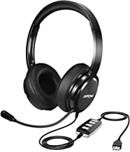 Mpow 218 PC Headset, USB Headset/3.5mm Computer Headset, Portable Lightweight Version with Noise Cancelling Microphone, Stereo On-Ear Wired Headphones for Skype, Call Center, PC, Phone, Mac