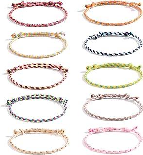 VU100 10 Pezzi Braccialetti Tessuti Fatti a Mano Braccialetto Amicizia Intrecciato per Donna Ragazza Bracciali Multicolore