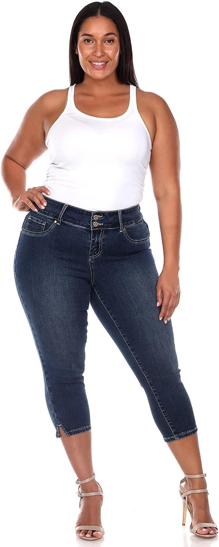 white mark Women's Plus Size Super Stretch High Rise Denim Capri Jeans