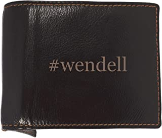 #wendell - Soft Hashtag Cowhide Genuine Engraved Bifold Leather Wallet