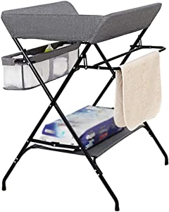 BBNBY Grey Baby Changing Station with Portable Storage  Folding Diaper Table Nursery Organizer for Infant  Save Space