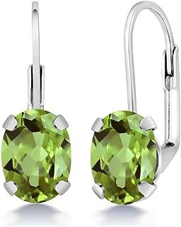 Gem Stone King Sterling Silver Green Peridot Women`s Earrings 2.66 cttw Gemstone Birthstone Oval 8X6MM
