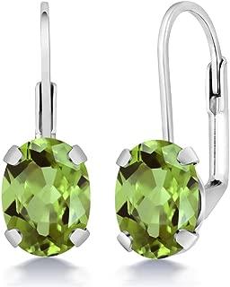 Sterling Silver Green Peridot Women's Earrings 2.66 cttw Gemstone Birthstone Oval 8X6MM
