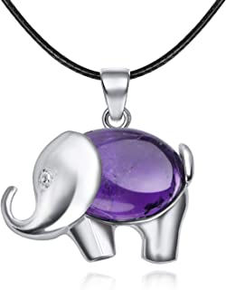 JXMYBA Cute Elephant Pendant Necklace Women's Men's Healing Chakra Gemstone Pendant Meditation Jewelry Lucky Birthstone Necklace with Stainless Steel Necklace with Gift Box Packaging