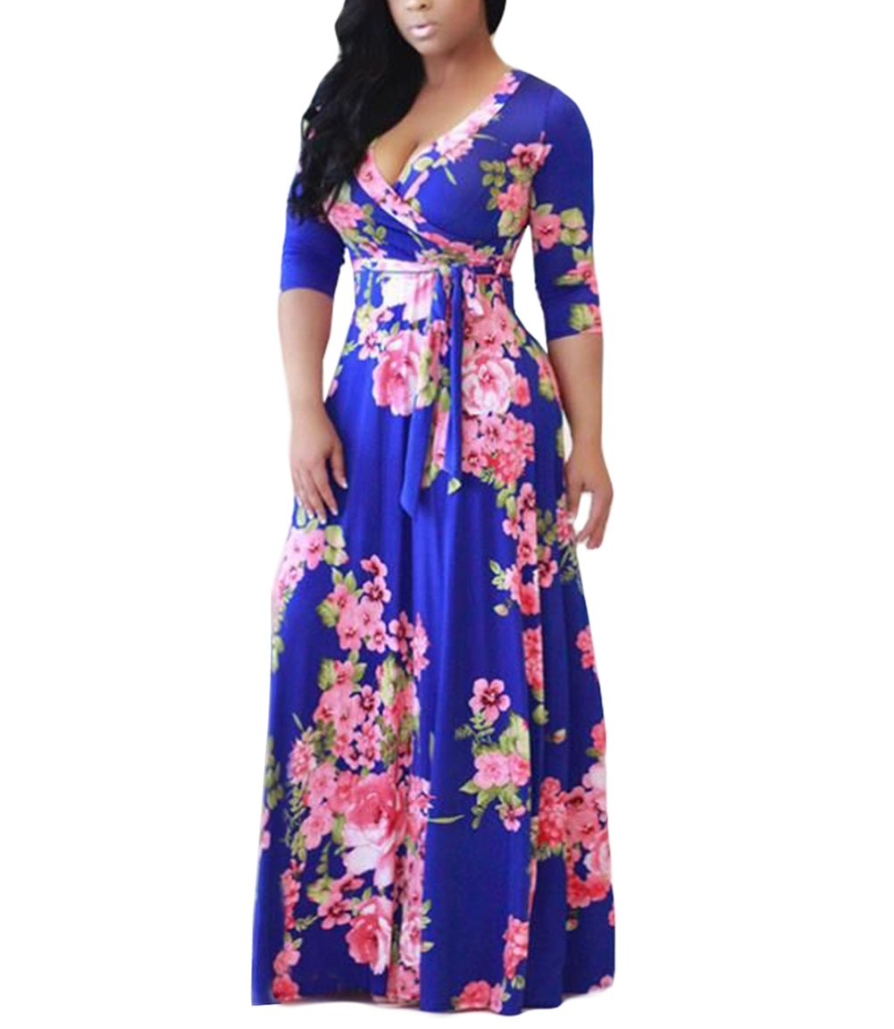 Available at Amazon: Olens Women 3/4 Long Sleeve Wrap V Neck Floral Printed Long Maxi Dress Plus Size