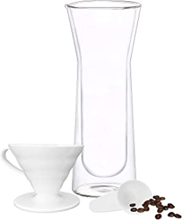 SOHO Double Wall Insulated Glass Carafe with Pour Over Coffee Dripper Made From Shatter Resistant Borosilicate Glass 24 OZ, For Hot and Cold, Perfect For Coffee Tea and Iced Drinks as Well
