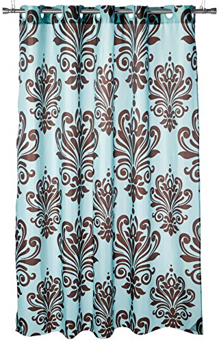 Carnation Home Fashions ez-on Beacon Hill Duschvorhang, Polyester, Schokolade auf Spa Blau